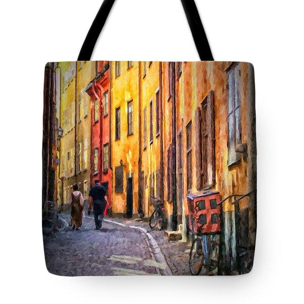 Stockholm Gamla Stan Painting Tote Bag