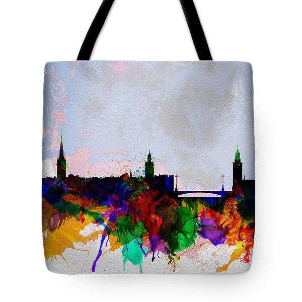 Stockholm Watercolor Skyline Tote Bag