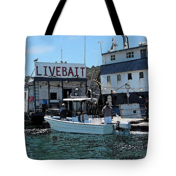 Stocking Up On Live Bait Tote Bag by Cedric Hampton