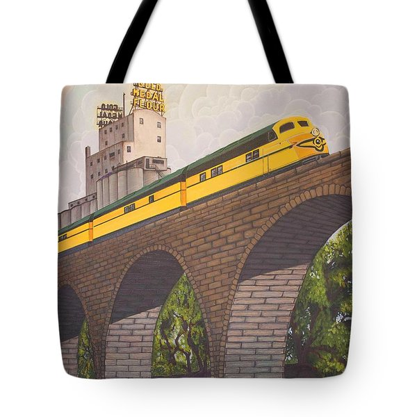 Tote Bag featuring the painting Stone Arch Bridge by Jude Labuszewski