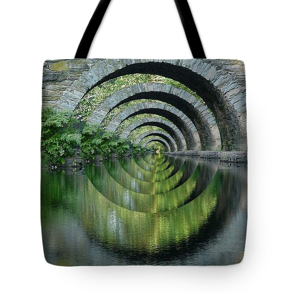 Stone Arch Bridge Over Troubled Waters - 1st Place Winner Faa Optical Illusions 2-26-2012 Tote Bag by EricaMaxine  Price