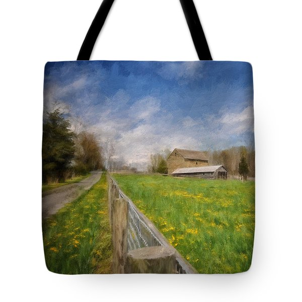 Stone Barn On A Spring Morning Tote Bag