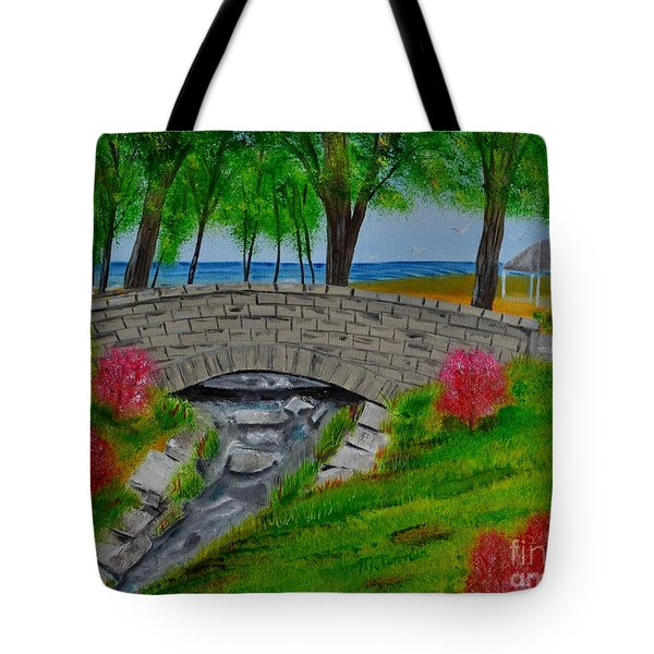 Tote Bag featuring the painting Stone Bridge by Melvin Turner