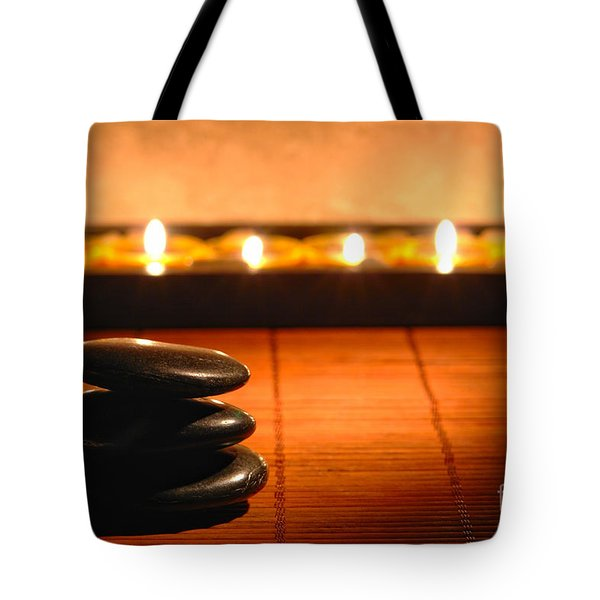 Stone Cairn And Candles For Quiet Meditation Tote Bag