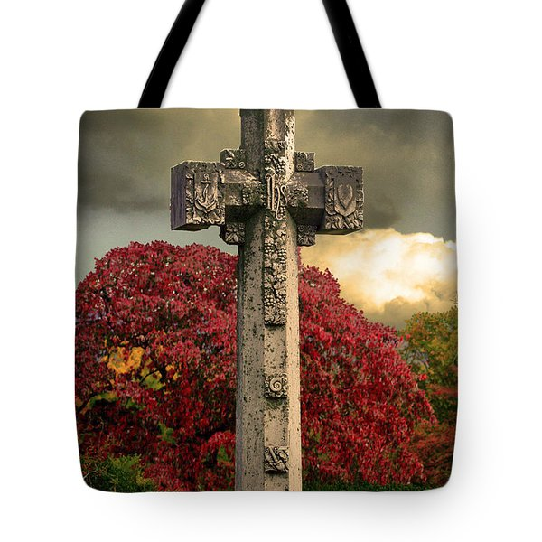Tote Bag featuring the photograph Stone Cross In Fall Garden by Lesa Fine