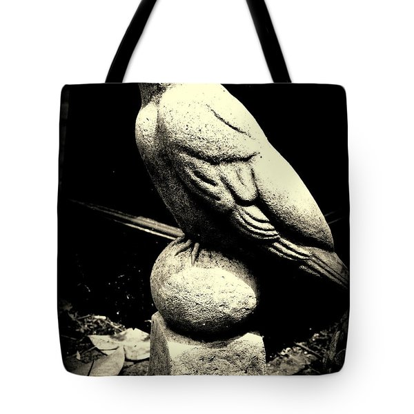 Stone Crow On Stone Ball Tote Bag