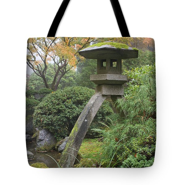Tote Bag featuring the photograph Stone Lantern In Japanese Garden by JPLDesigns