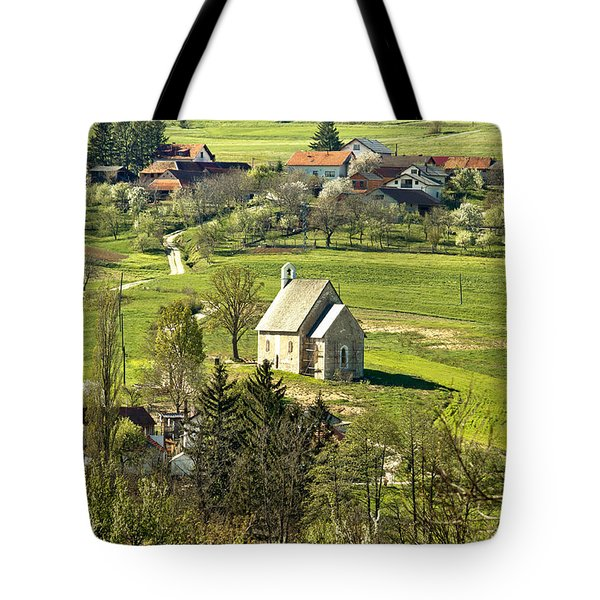 Stone Made Church In Green Nature Tote Bag