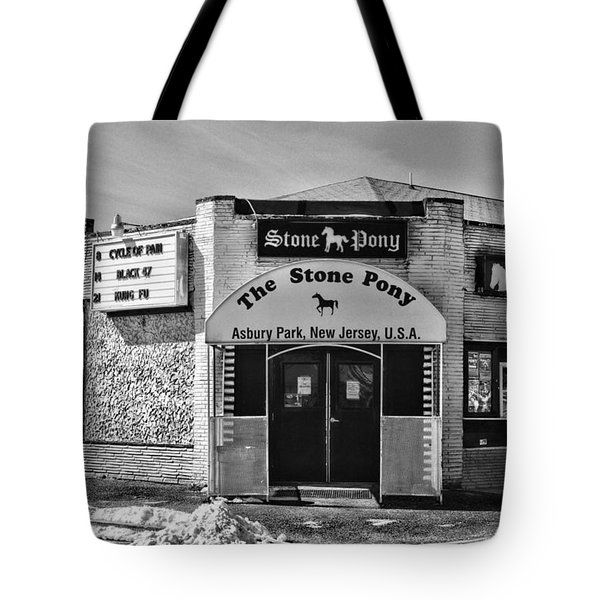 Stone Pony In Black And White Tote Bag by Paul Ward