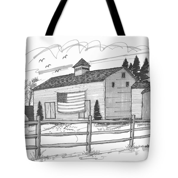 Tote Bag featuring the drawing Stone Ridge Barn With Flag by Richard Wambach