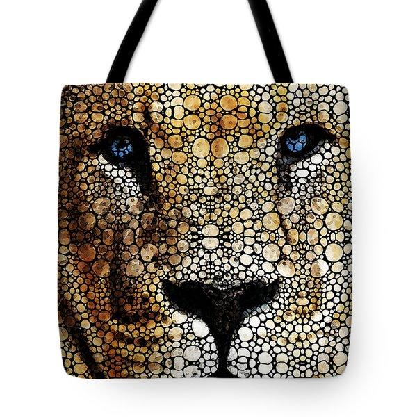 Stone Rock'd Lion 2 - Sharon Cummings Tote Bag by Sharon Cummings