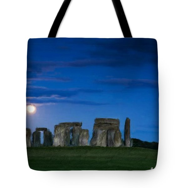 Tote Bag featuring the painting Stonehenge At Night by Bruce Nutting