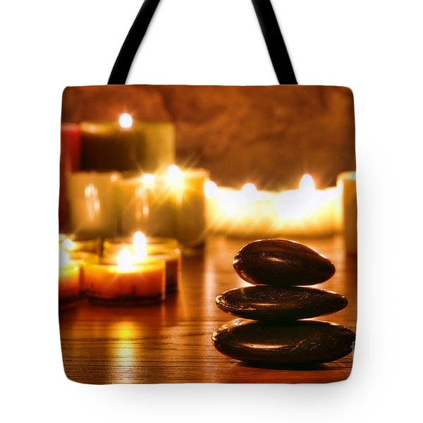 Stones Cairn And Candles Tote Bag