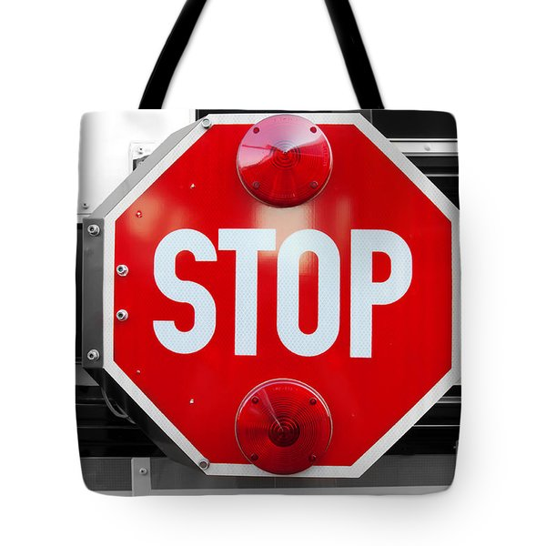Stop Bw Red Sign Tote Bag