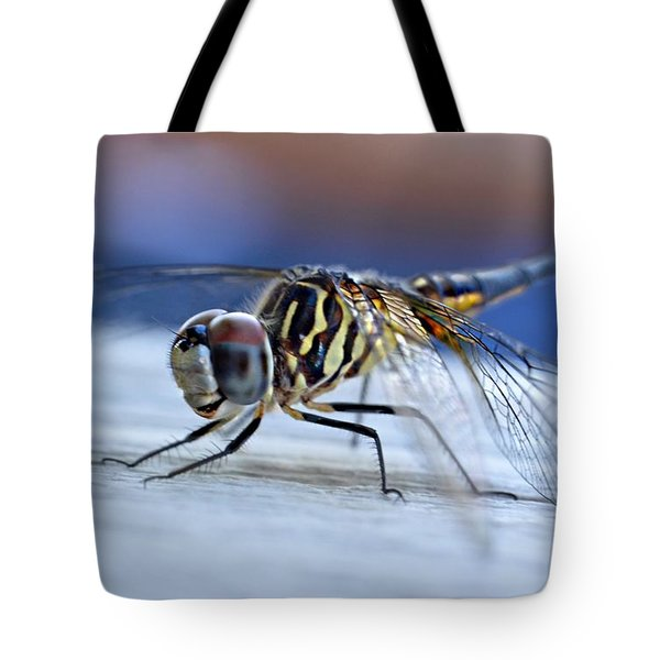 Stop By Tiger Dragon Fly Tote Bag by Peggy Franz