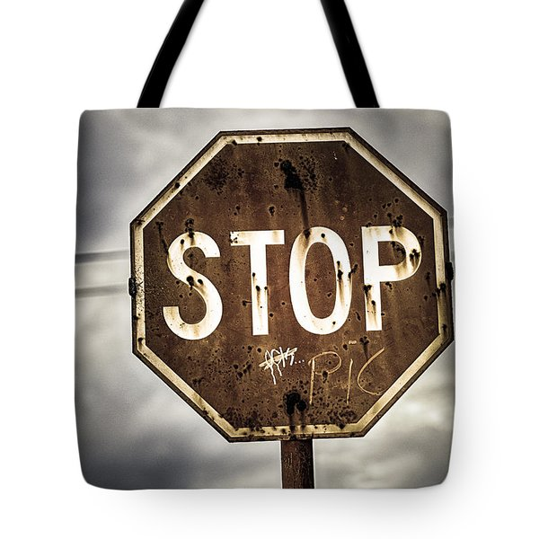 Stop Tote Bag by Caitlyn  Grasso