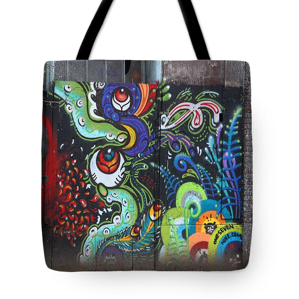 Stop For Skull Mural Graffiti Tote Bag by Kym Backland