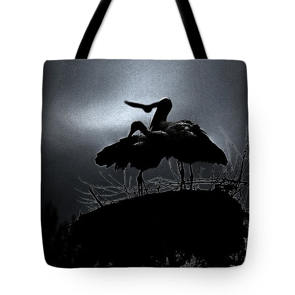 Stork Couple Tote Bag