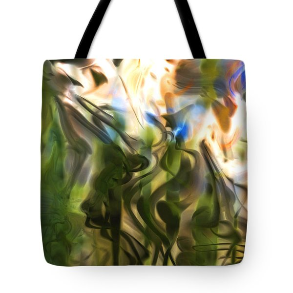 Tote Bag featuring the digital art Stork In The Music Garden by Richard Thomas