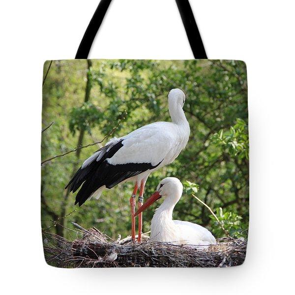 Storks Nesting Tote Bag