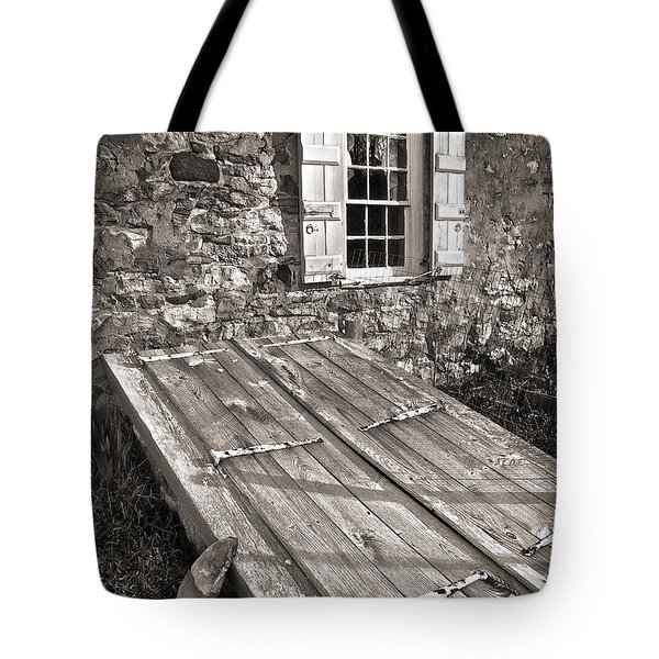 Storm Cellar And Window Tote Bag by Mark Miller