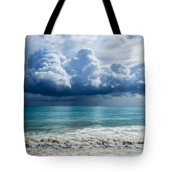 Tote Bag featuring the photograph Storm Clouds At Waimanalo by Leigh Anne Meeks