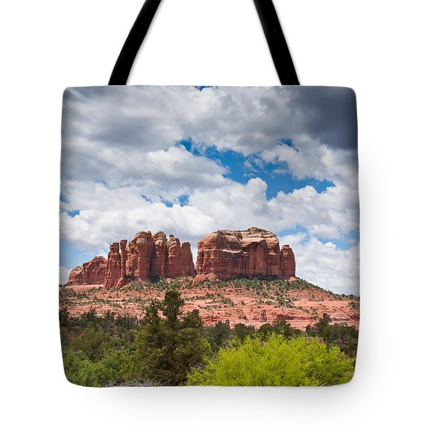 Tote Bag featuring the photograph Storm Clouds Over Cathedral Rocks by Jeff Goulden