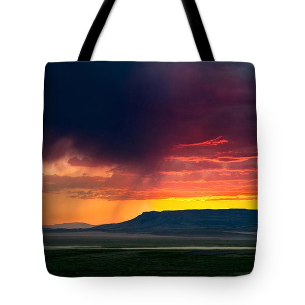 Storm Clouds Over Square Butte Tote Bag by Renee Sullivan
