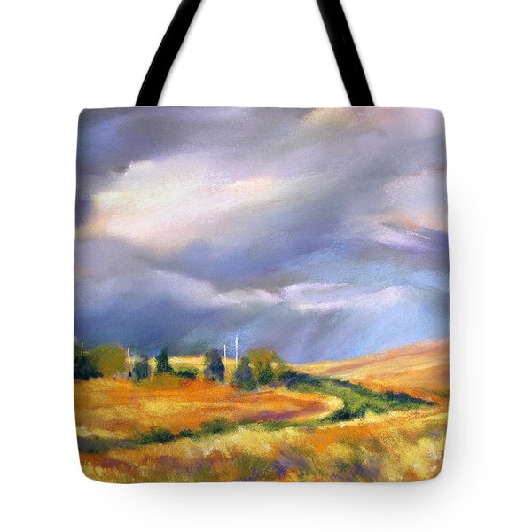Tote Bag featuring the painting Storm Colors by Rae Andrews