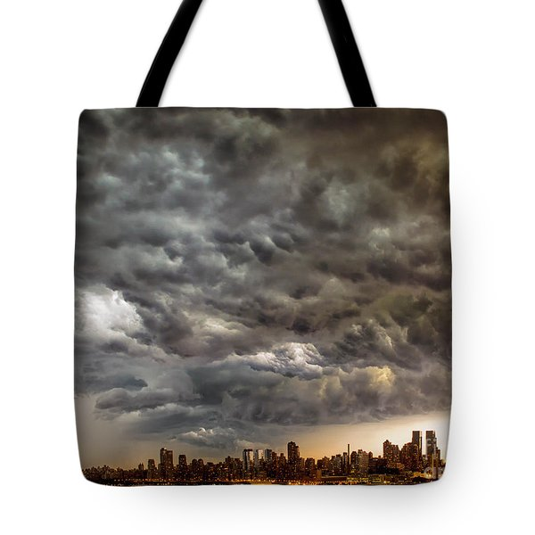 Storm Coulds Over Nyc Tote Bag by Jerry Fornarotto