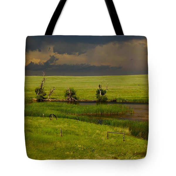 Storm Crossing Prairie 1 Tote Bag by Robert Frederick