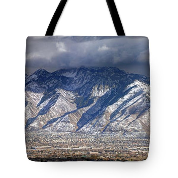 Storm Front Passes Over The Wasatch Mountains And Salt Lake Valley - Utah Tote Bag