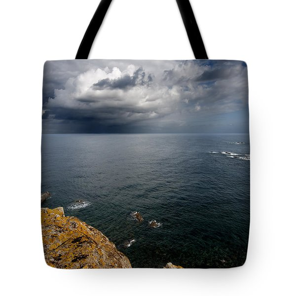 A Mediterranean Sea View From Sa Mesquida In Minorca Island - Storm Is Coming To Island Shore Tote Bag