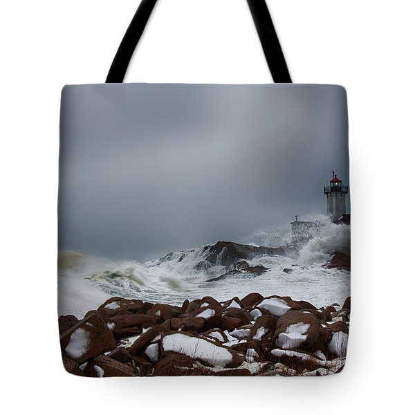 Storm Off Eastern Point Lighthouse Tote Bag
