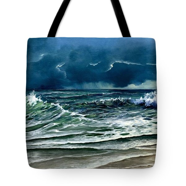 Tote Bag featuring the painting Storm Off Yucatan Mexico by Lynne Wright