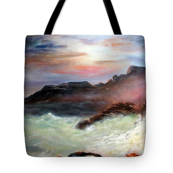 Storm On Mount Desert Island Tote Bag by Lee Piper