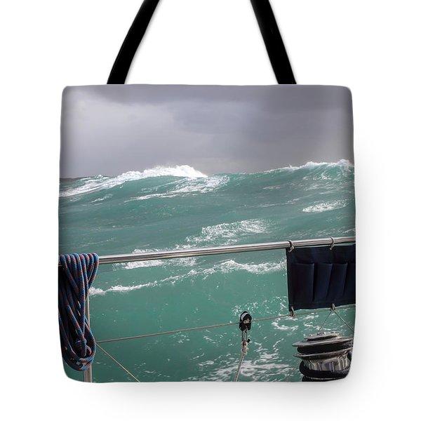Storm On Tasman Sea Tote Bag by Jola Martysz