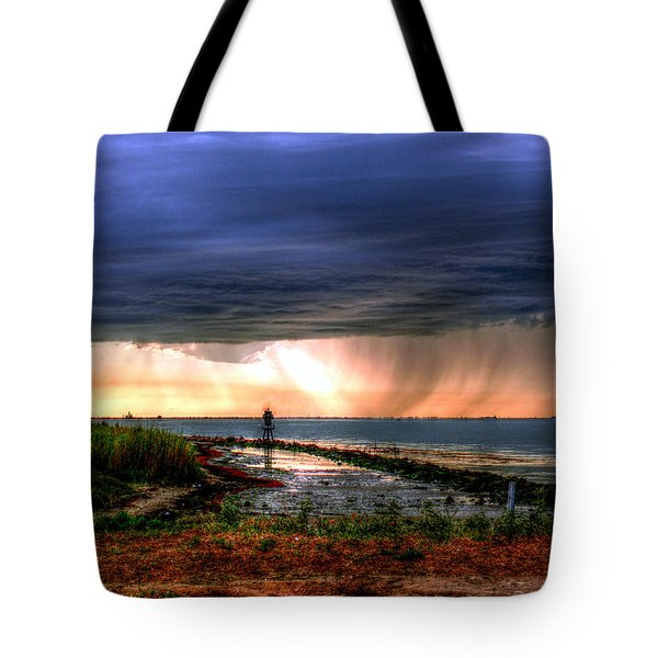 Storm On The Bay Tote Bag