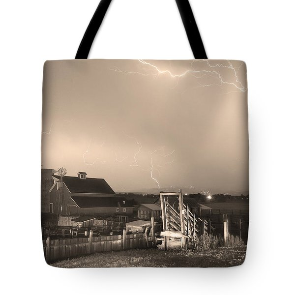 Storm On The Farm In Black And White Sepia Tote Bag by James BO  Insogna
