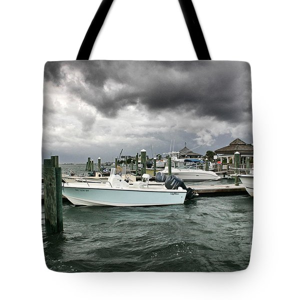Tote Bag featuring the photograph Storm Over Banks Channel by Phil Mancuso