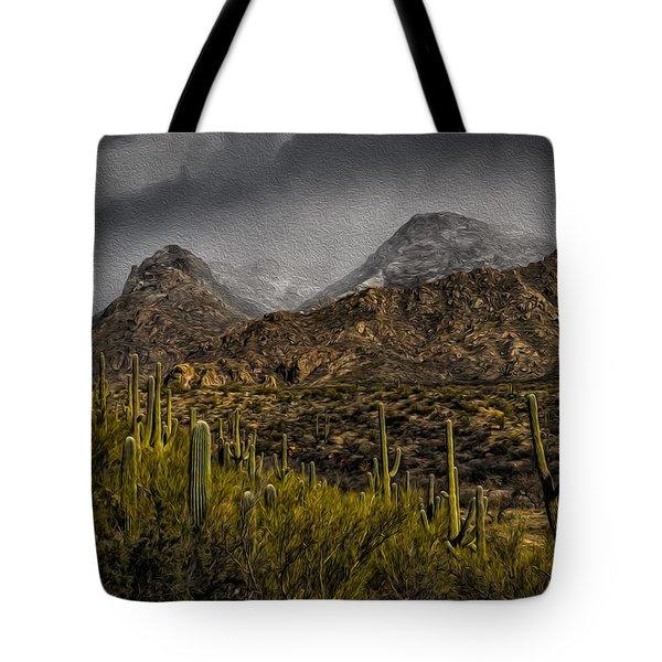 Storm Over Catalinas Aso Tote Bag by Mark Myhaver