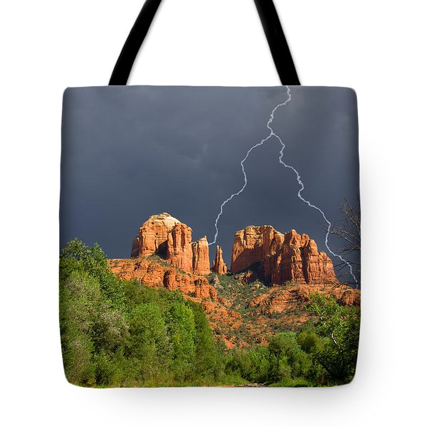Storm Over Cathedral Rock Tote Bag by Alexey Stiop