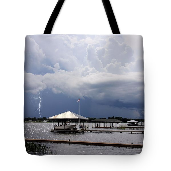 Tote Bag featuring the photograph Storm Over Clay Lake by Rosalie Scanlon
