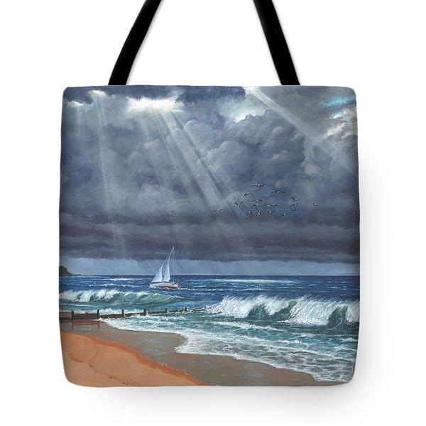 Storm Over Lindisfarne Tote Bag by Richard Harpum
