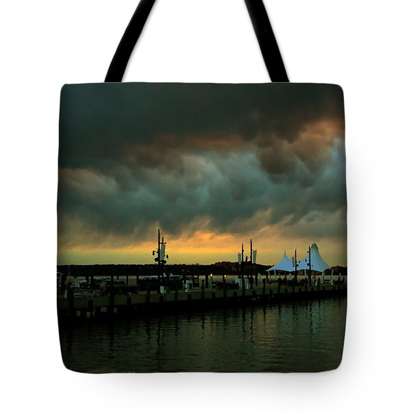 Storm Over National Harbor Oil Tote Bag