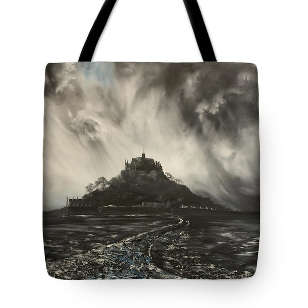 Tote Bag featuring the painting Storm Over St Michaels Mount Cornwall by Jean Walker