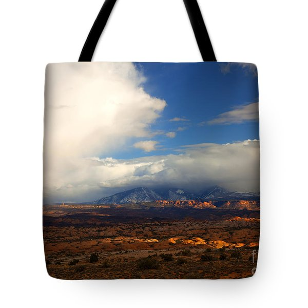 Storm Over The La Sals Tote Bag by Mike  Dawson