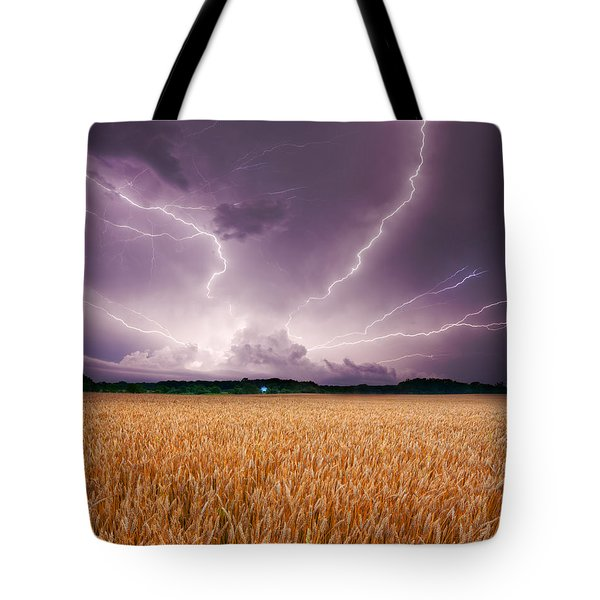 Storm Over Wheat Tote Bag