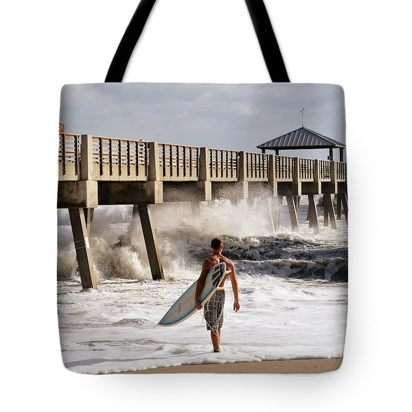 Storm Surfer Tote Bag by Laura Fasulo
