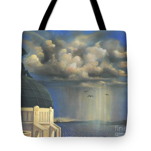 Tote Bag featuring the painting Storm Watch At Griffith's by S G